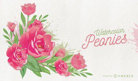 Tarjeta de peonías rosas acuarela