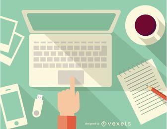 Escritorio con computadora, notebook, café y teléfono inteligente.