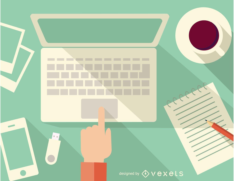 Escritorio con computadora notebook café y teléfono inteligente
