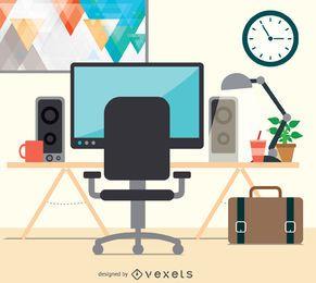 Diseño plano de escritorio de espacio de trabajo