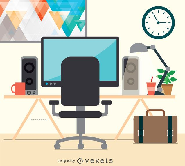 Espacio de trabajo de diseño plano de escritorio