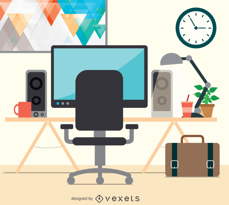 Workspace desktop flat design