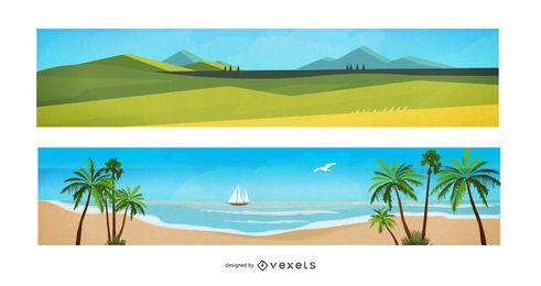 Banners de desenhos animados de paisagem em aquarela