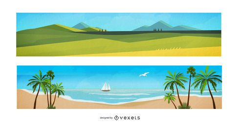Banners de dibujos animados de paisaje de acuarela