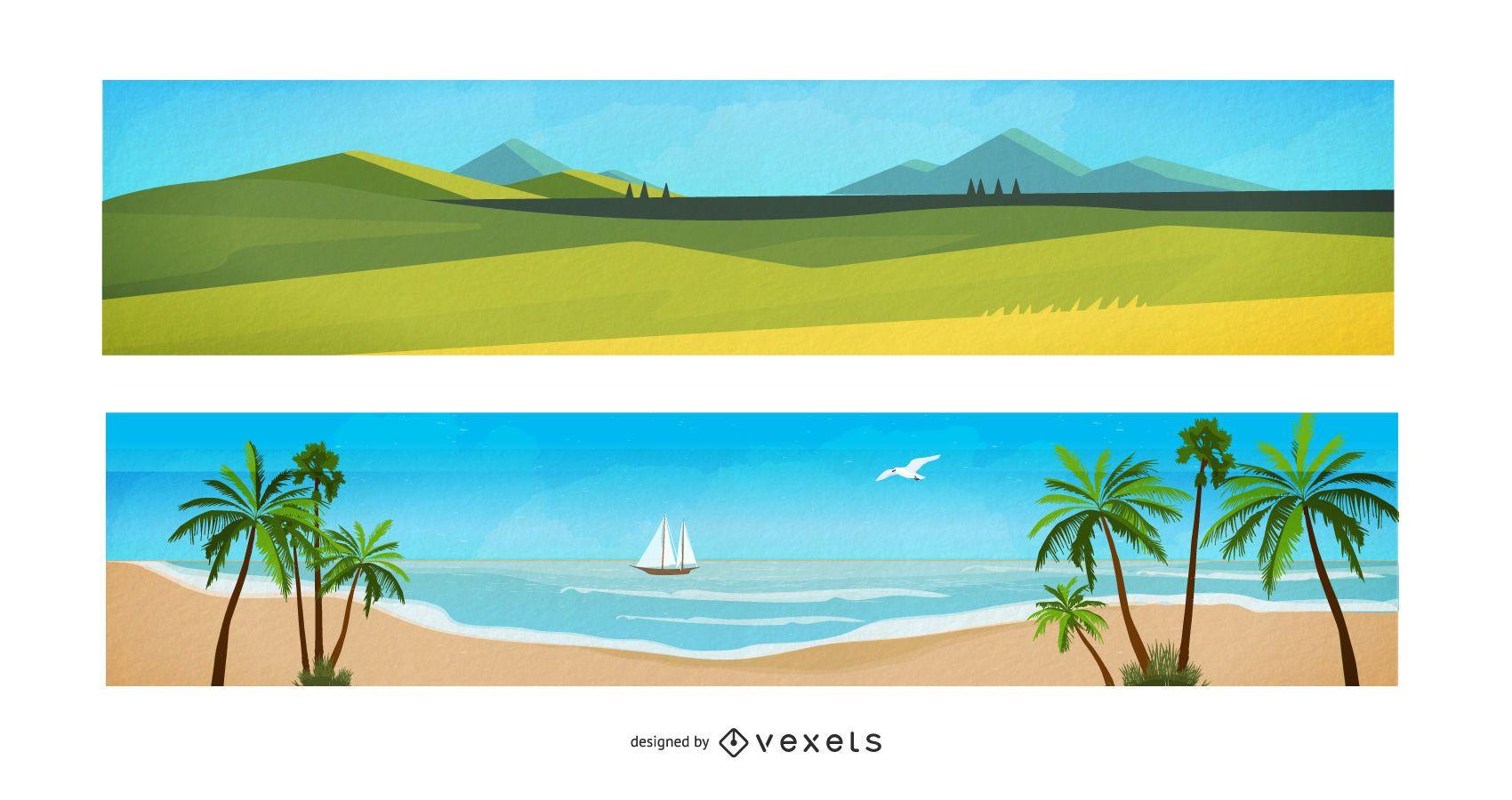 Watercolor Landscape Cartoon Banners