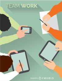 Reunión creativa con dispositivos inteligentes