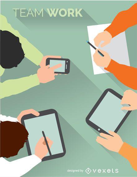 Kreatives Treffen mit intelligenten Geräten