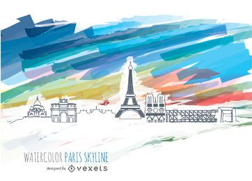 Paris Skyline with watercolor background