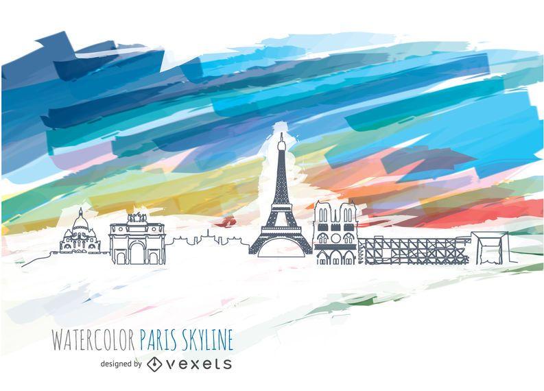 Skyline de Paris com fundo aquarela
