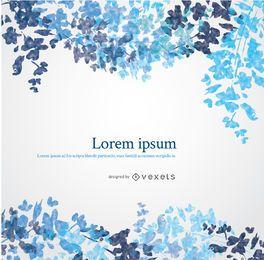 design da aguarela floral azul