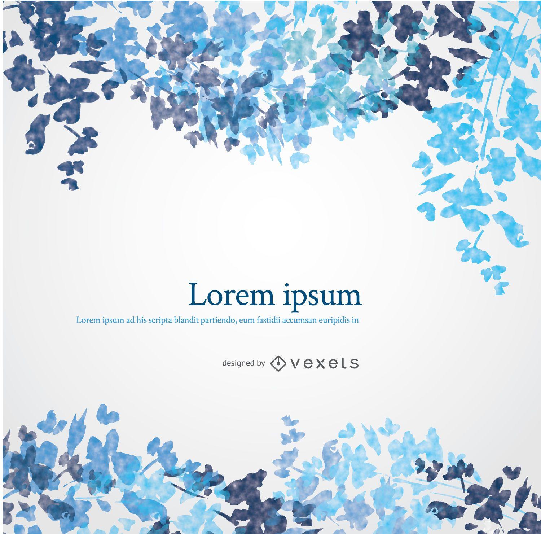 Diseño de acuarela floral azul