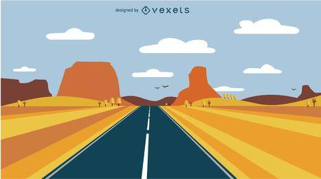 Paisagem da estrada do deserto