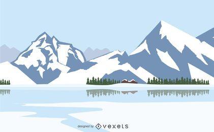 Paisagem do inverno com montanhas nevadas