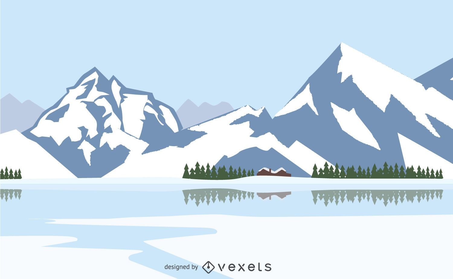 Winter landscape with snowed mountains