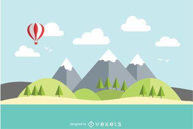 Lago de montaña paisaje plano