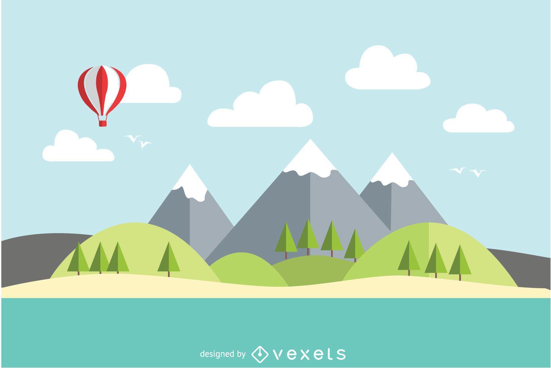 Paisaje plano del lago de montaña