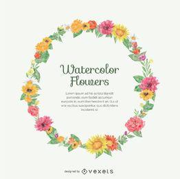 Coroa de flores de aquarela