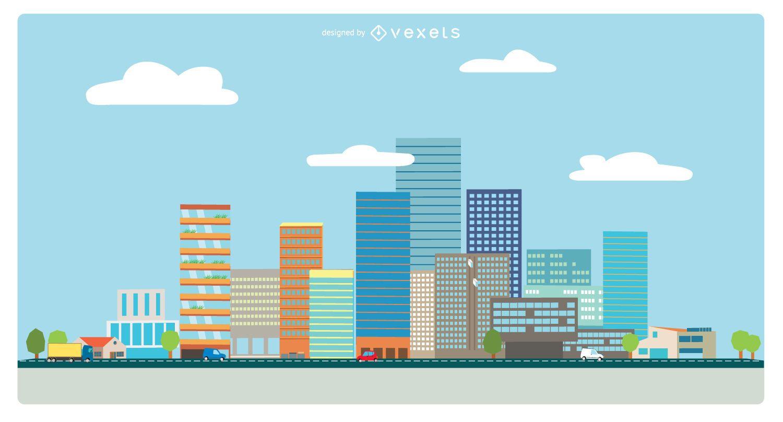 Vista da cidade em estilo simples