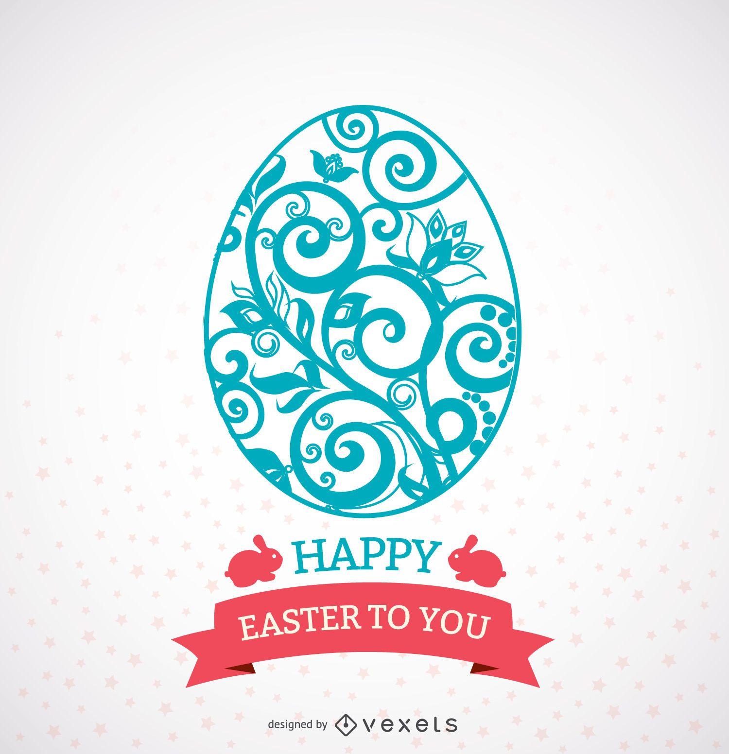 Huevo de Pascua adornado con cinta mensaje