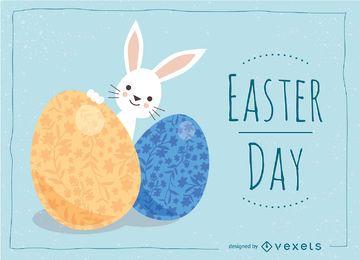 Tarjeta de Pascua con lindo conejito y huevos adornados