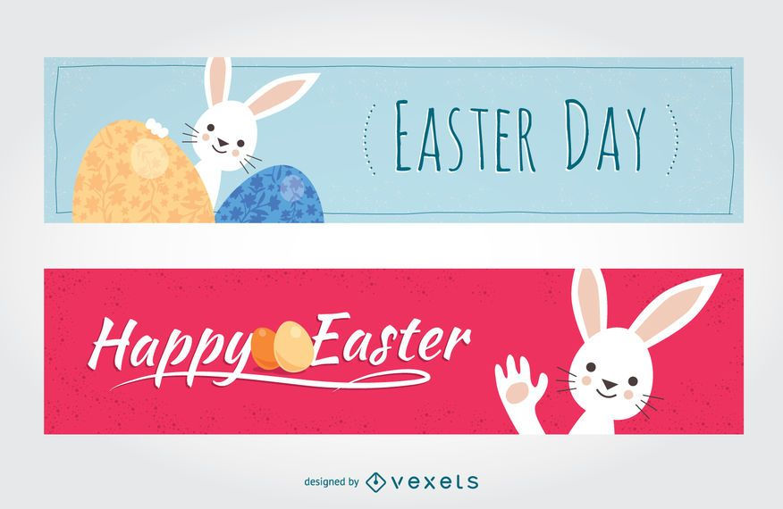 Rabbit flat Easter banners
