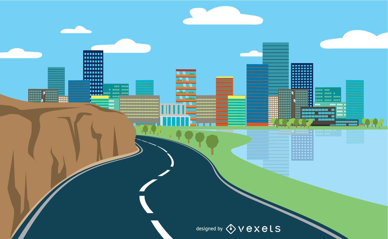 Estilo plano del paisaje urbano de la carretera