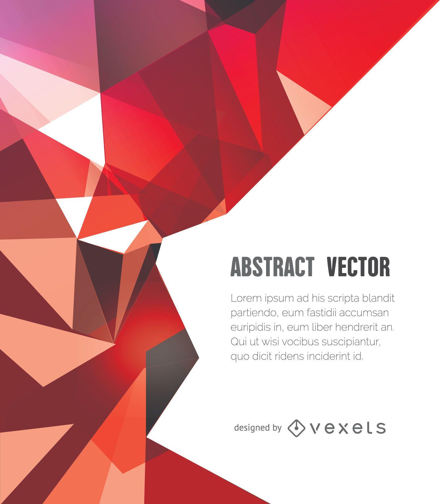 Fondo poligonal abstracto en tonos rojos