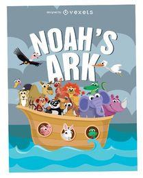Póster Arca de Noé de dibujos animados