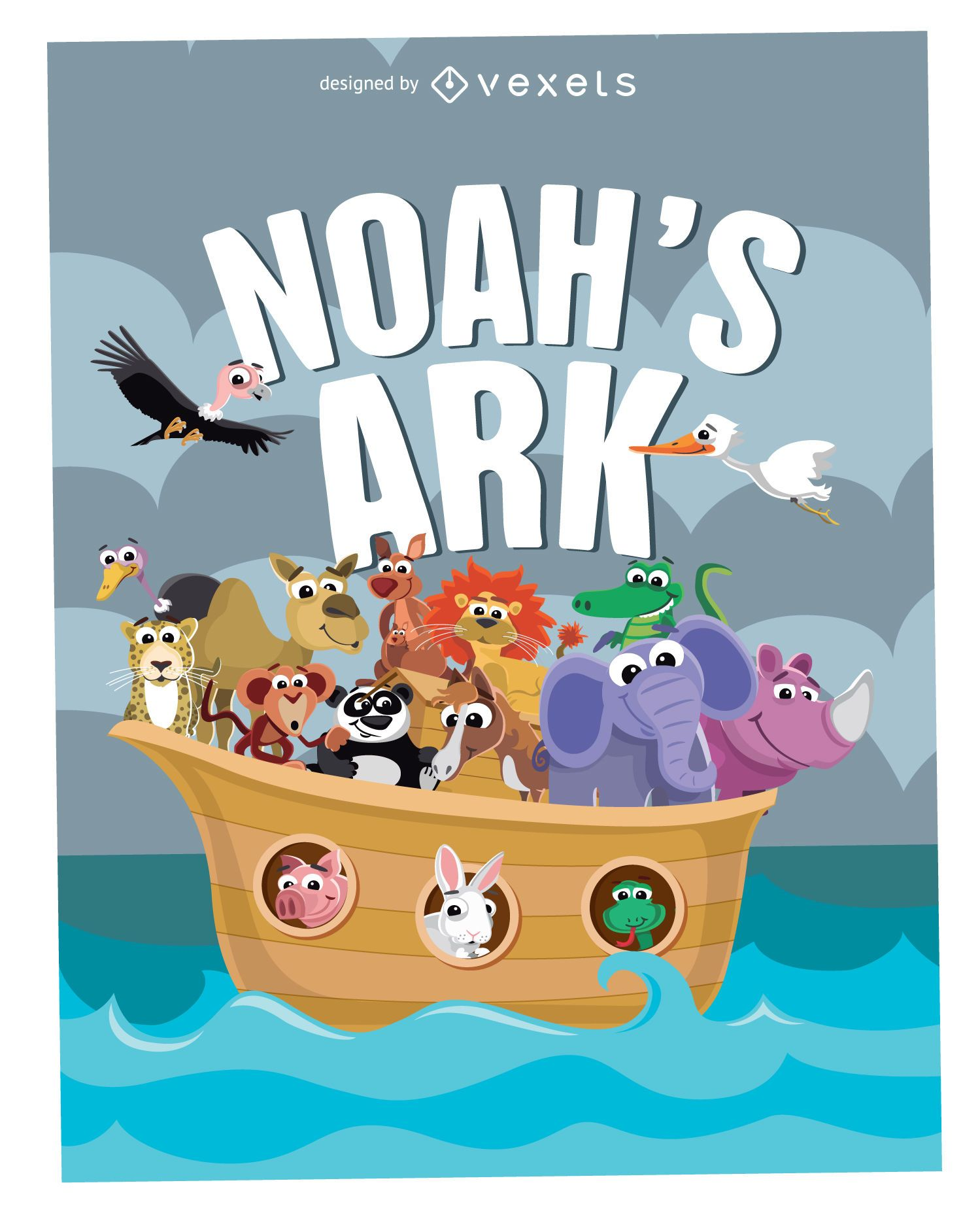 Cartoon Noah's Ark Poster