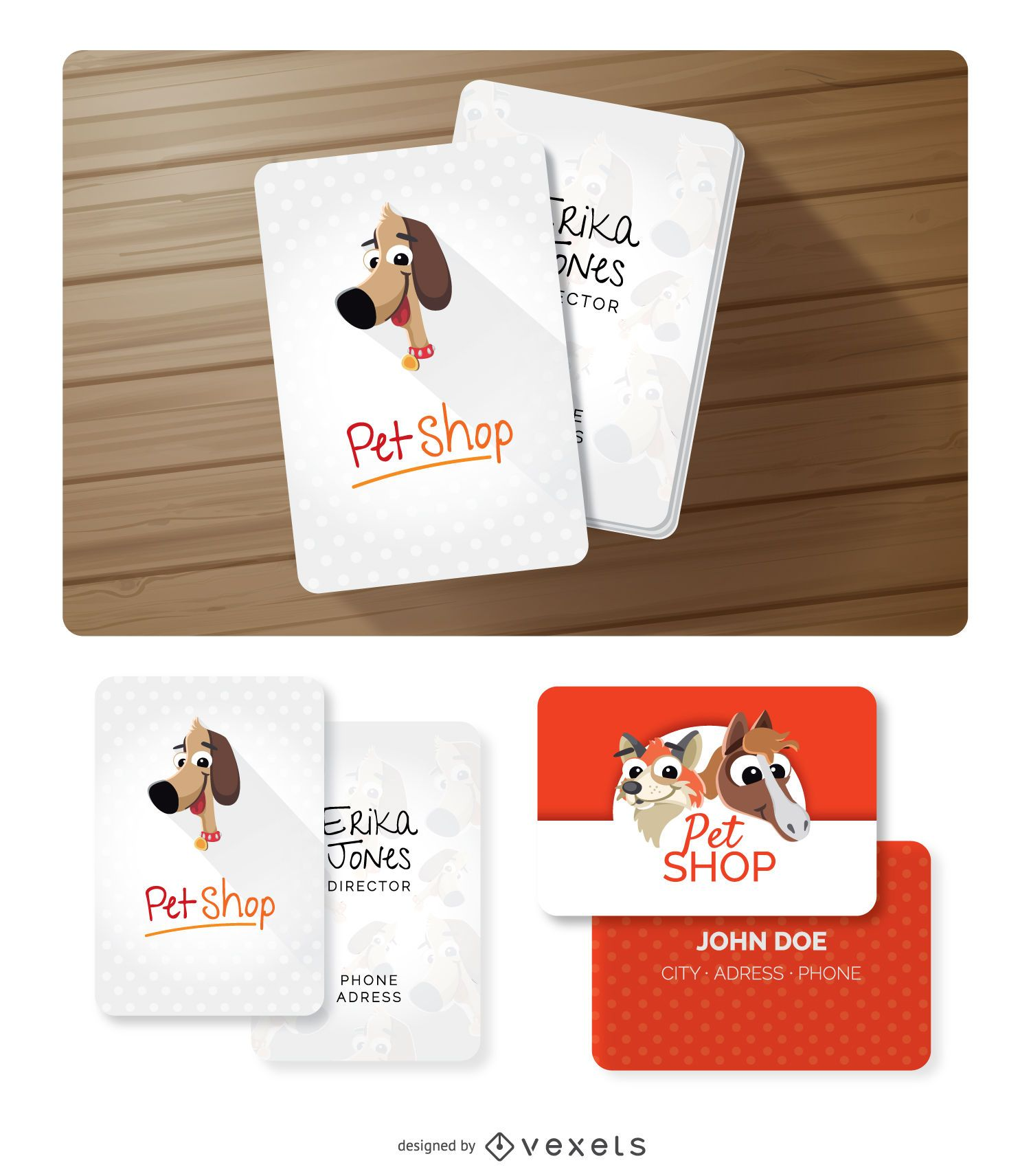 Lustige Tiere Visitenkarten Vektor Download