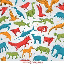 Fundo de animais coloridos