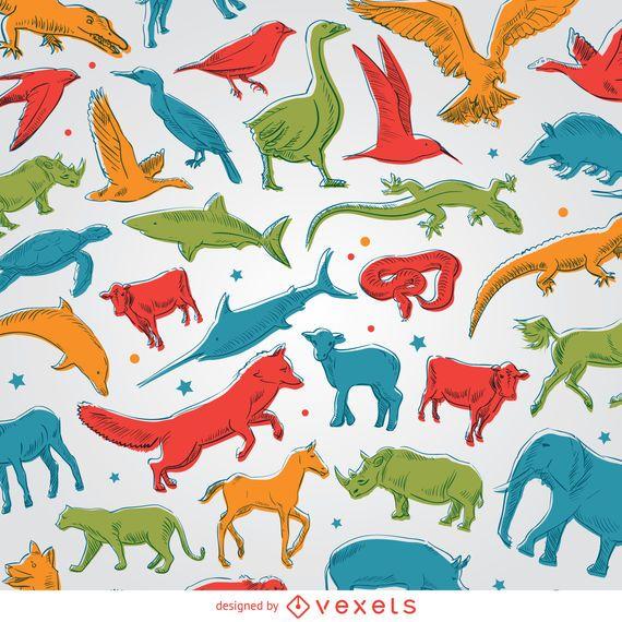 Farbige Tiere Hintergrund