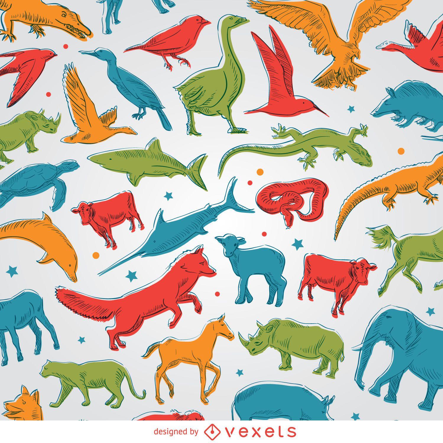 Fondo de animales de colores