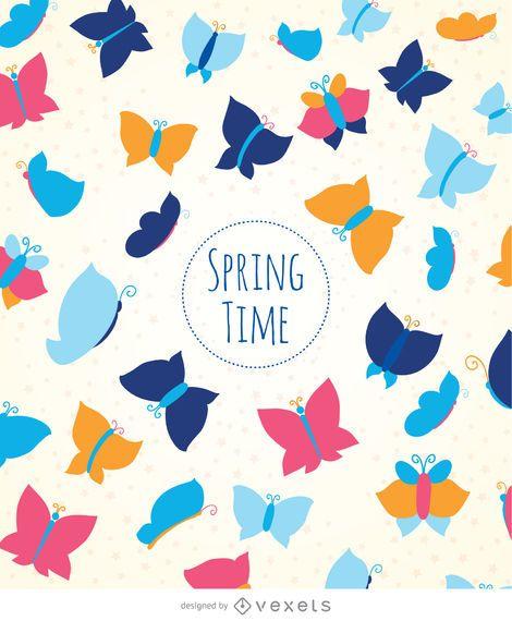 Spring butterflies background