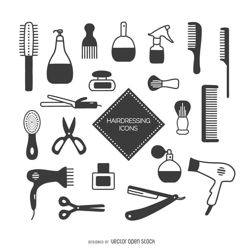 Conjunto de ícones de cabeleireiro
