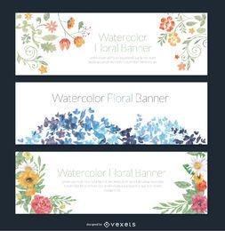 Conjunto de 3 delicada acuarela banderas florales