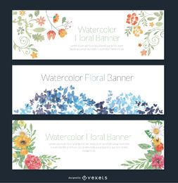 Delicado conjunto de 3 estandartes florales de acuarela