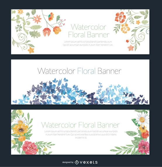 Delicate set of 3 watercolor floral banners