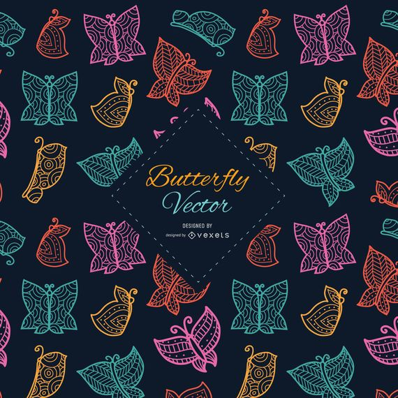 Ornamented and stylish butterflies background