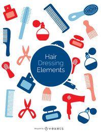 Conjunto de elementos de peluquería coloridos.