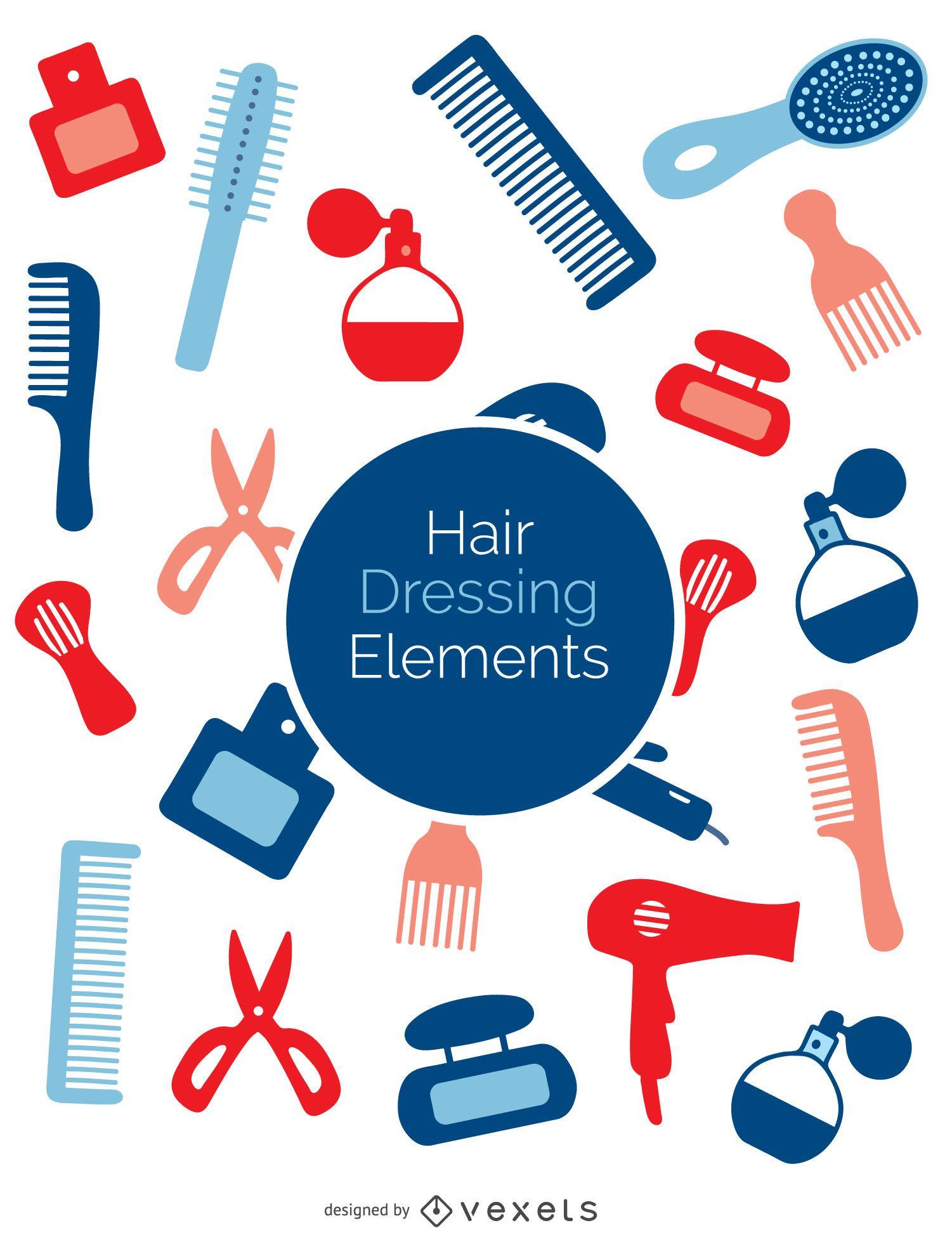 Conjunto de elementos de peluquería coloridos
