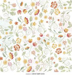 Papel pintado floral de la acuarela