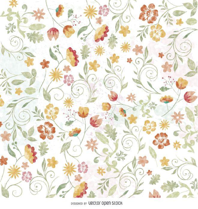 Papel pintado floral acuarela