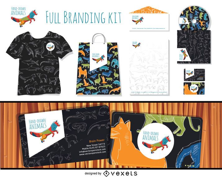 Full branding hand-drawn animals kit