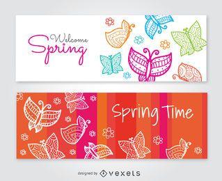 Banners de mariposas de 2 colores con mensaje.
