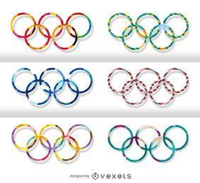 Conjunto de anillos olímpicos - varios motivos.