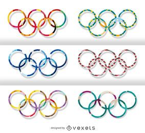 Satz olympischer Ringe - mehrere Motive