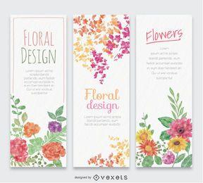 3 banners verticais em aquarela de flores