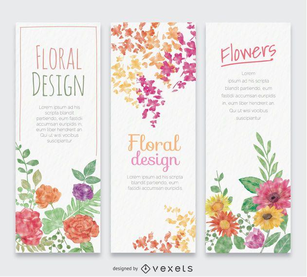 3 banners verticais em aquarela de flor