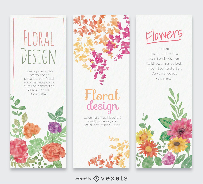 3 banners verticales de acuarela de flores.